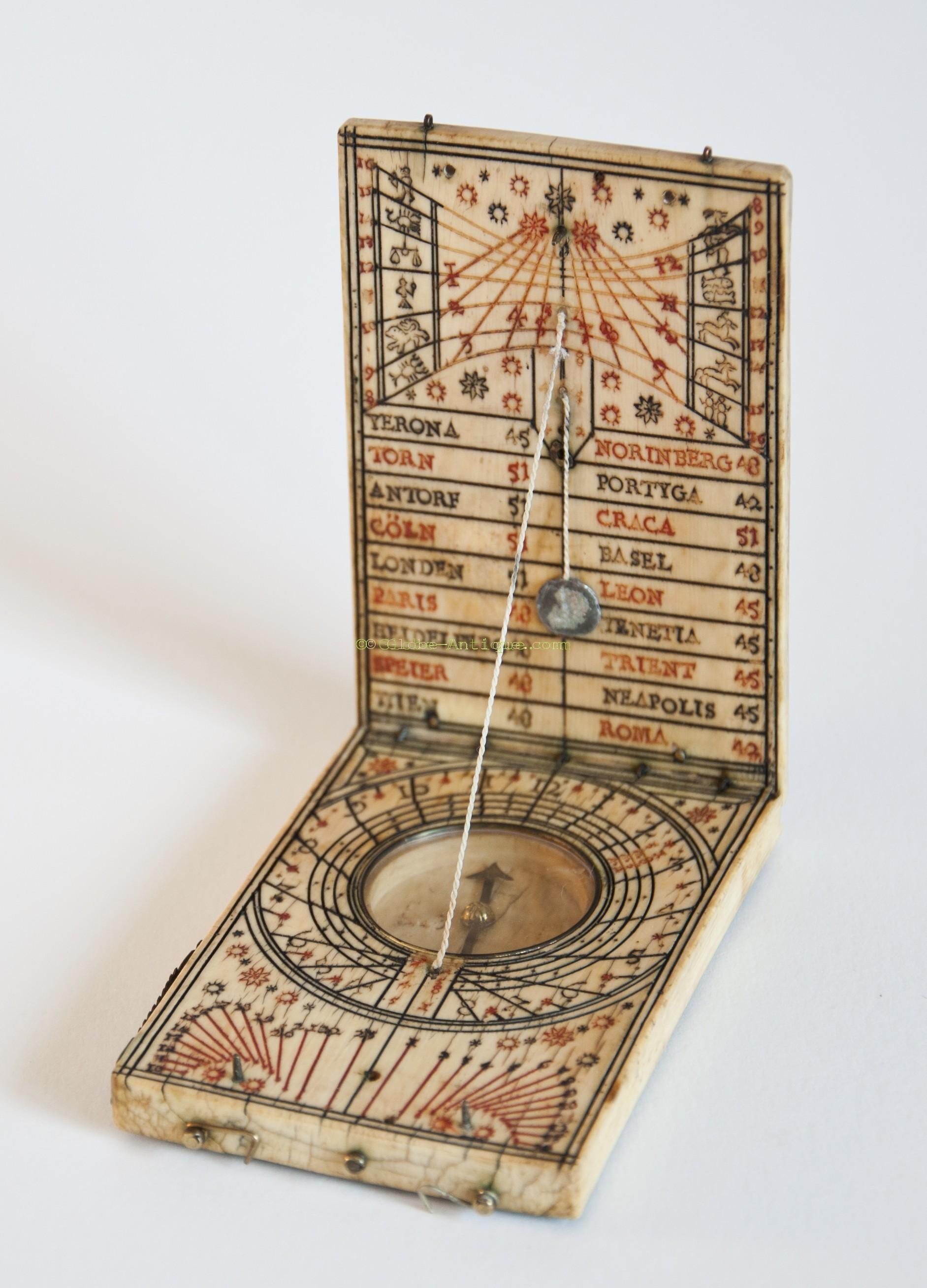 Antique Science Instruments : Antique dyptich sundial ivory karner xvii nuremberg