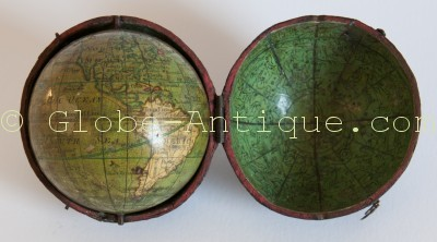 Terrestrial and celestial pocket globe signed Nicolas Lane