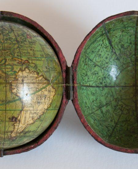 Terrestrial and celestial pocket globe signed Nicolas Lane
